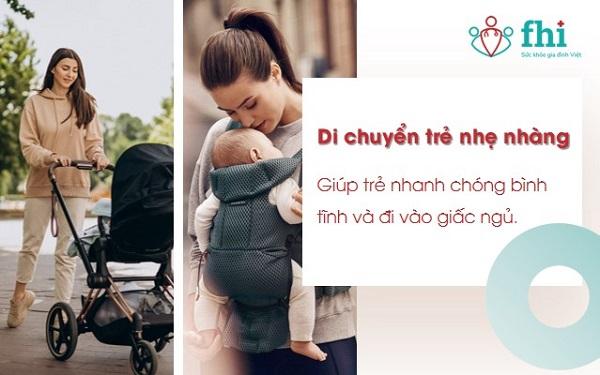 di chuyển trẻ giúp cải thiện tình trạng khóc colic