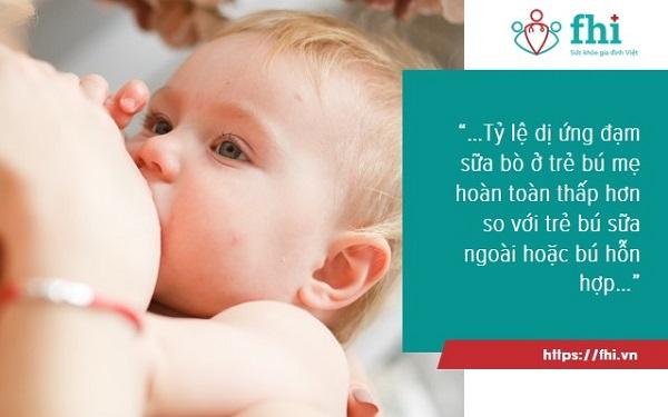 tỷ lệ trẻ dị ứng đạm bò ở trẻ bú sữa mẹ